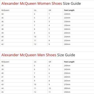 alexander mcqueen shoe size guide off